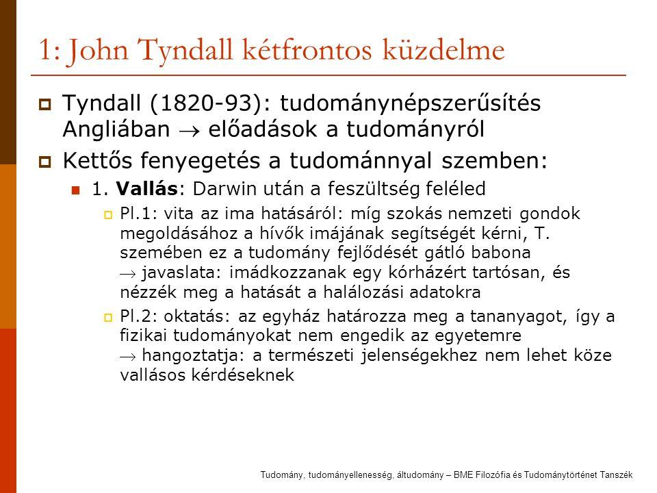 1: John Tyndall kétfrontos küzdelme  Tyndall (1820-93): tudománynépszerűsítés Angliában  előadások a tudományról  Kettős fenyegetés a tudománnyal szemben: 1.