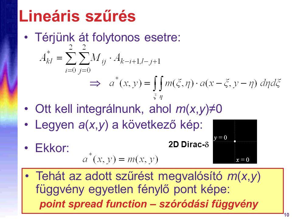 10 Lineáris szűrés Térjünk át folytonos esetre:  Ott kell integrálnunk, ahol m(x,y)≠0 Ekkor: Tehát az adott szűrést megvalósító m(x,y) függvény egyet