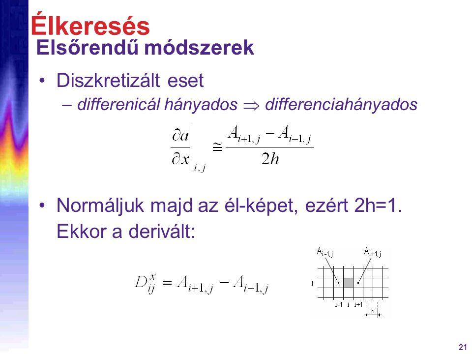 21 Diszkretizált eset –differenicál hányados  differenciahányados Élkeresés Elsőrendű módszerek Normáljuk majd az él-képet, ezért 2h=1. Ekkor a deriv