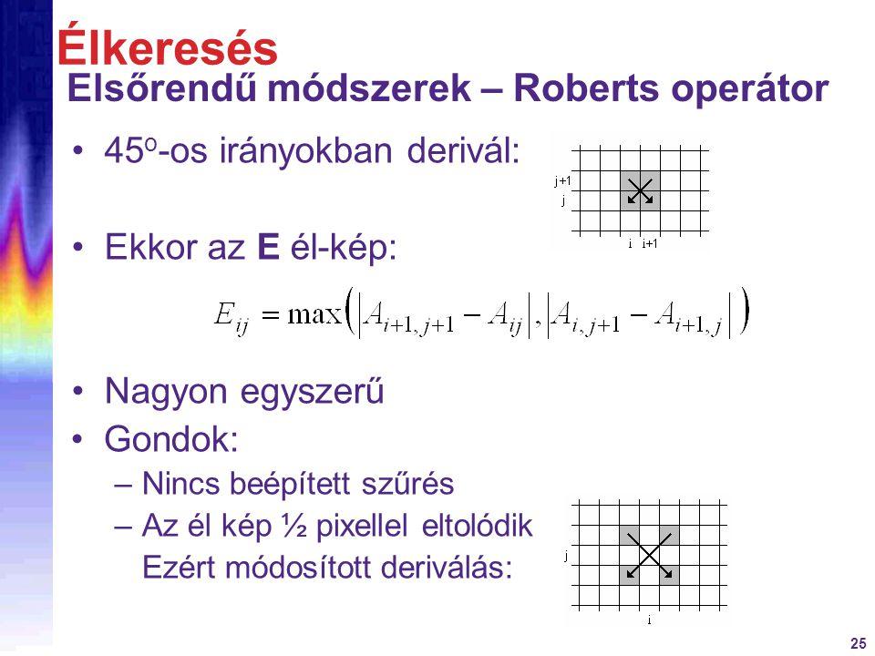 25 45 o -os irányokban derivál: Ekkor az E él-kép: Nagyon egyszerű Élkeresés Elsőrendű módszerek – Roberts operátor Gondok: –Nincs beépített szűrés –A