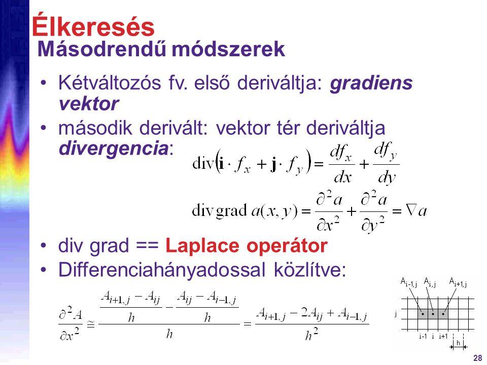 28 Kétváltozós fv. első deriváltja: gradiens vektor második derivált: vektor tér deriváltja divergencia: div grad == Laplace operátor Differenciahánya