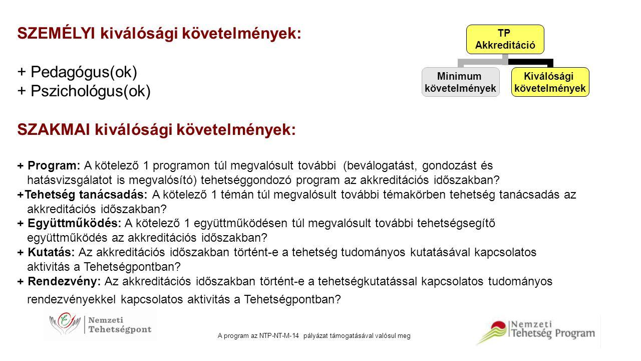 A program az NTP-NT-M-14 pályázat támogatásával valósul meg SZEMÉLYI kiválósági követelmények: + Pedagógus(ok) + Pszichológus(ok) SZAKMAI kiválósági k