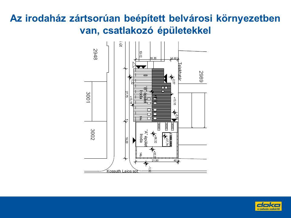 Az irodaház zártsorúan beépített belvárosi környezetben van, csatlakozó épületekkel
