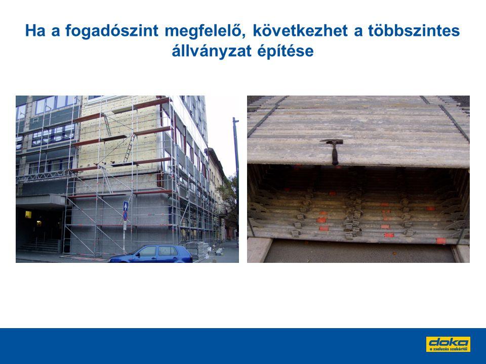 Ha a fogadószint megfelelő, következhet a többszintes állványzat építése