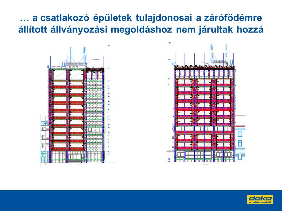 … a csatlakozó épületek tulajdonosai a zárófödémre állított állványozási megoldáshoz nem járultak hozzá