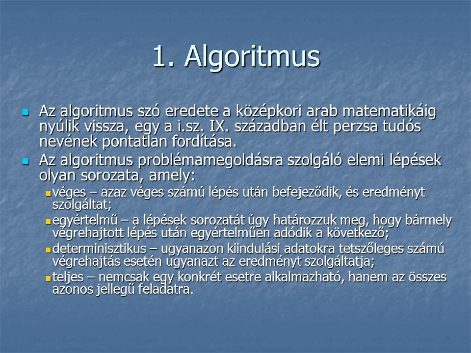 1. Algoritmus Az algoritmus szó eredete a középkori arab matematikáig nyúlik vissza, egy a i.sz.