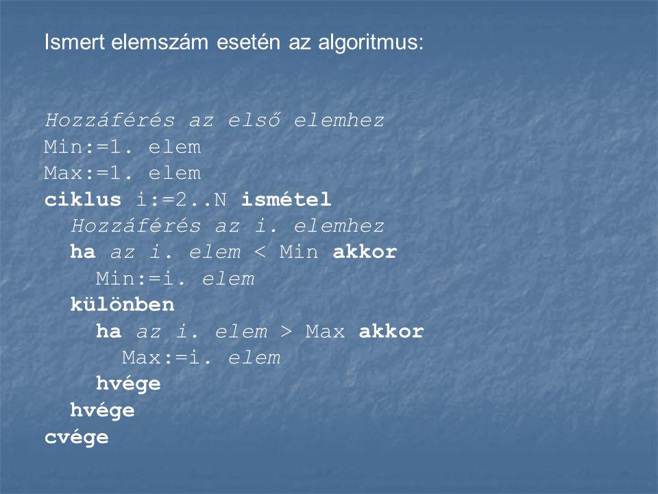 Ismert elemszám esetén az algoritmus: Hozzáférés az első elemhez Min:=1. elem Max:=1. elem ciklus i:=2..N ismétel Hozzáférés az i. elemhez ha az i. el