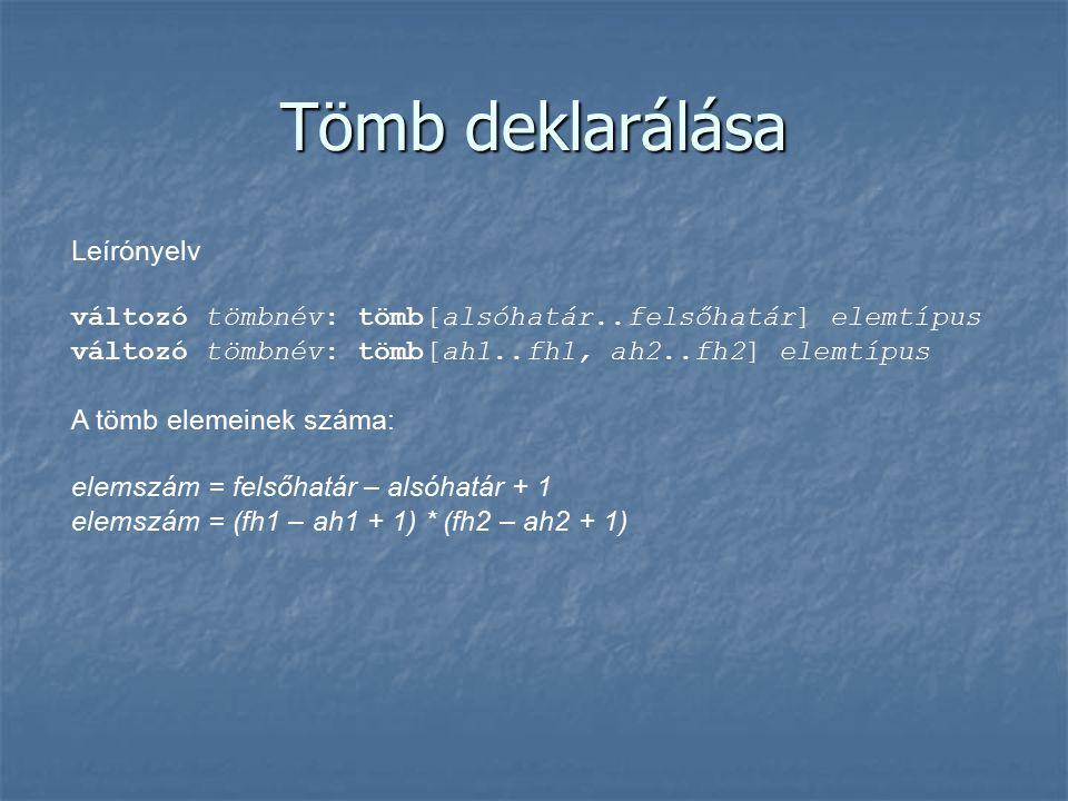Tömb deklarálása Leírónyelv változó tömbnév: tömb[alsóhatár..felsőhatár] elemtípus változó tömbnév: tömb[ah1..fh1, ah2..fh2] elemtípus A tömb elemeinek száma: elemszám = felsőhatár – alsóhatár + 1 elemszám = (fh1 – ah1 + 1) * (fh2 – ah2 + 1)