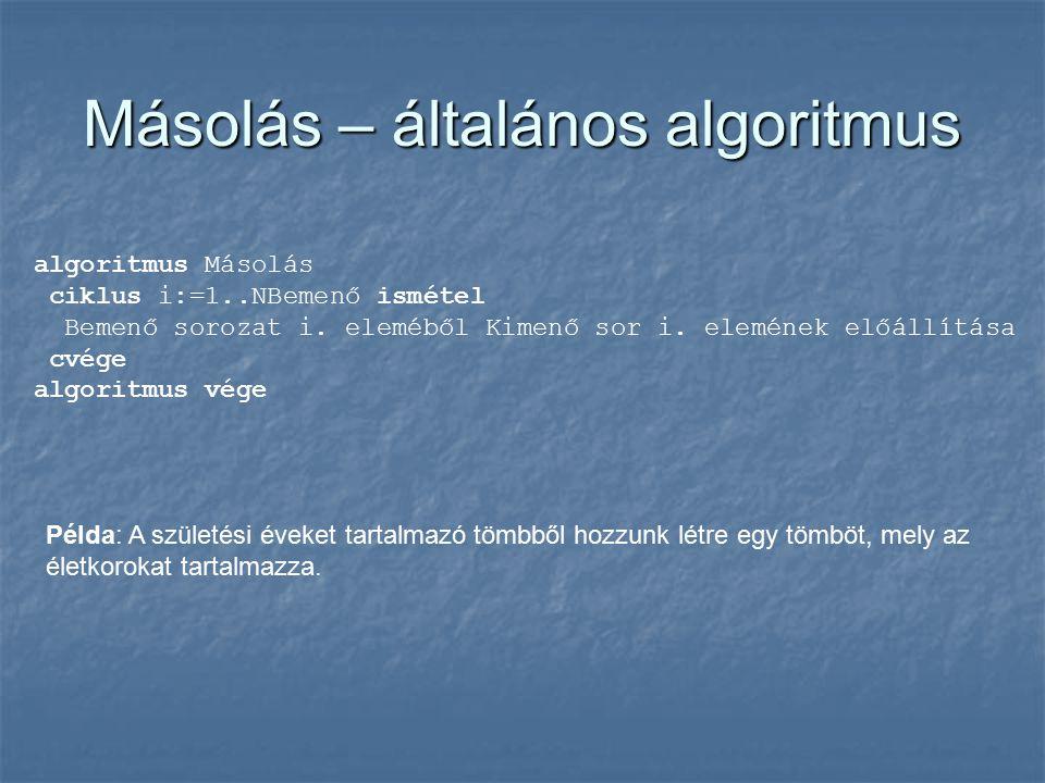 Másolás – általános algoritmus algoritmus Másolás ciklus i:=1..NBemenő ismétel Bemenő sorozat i.