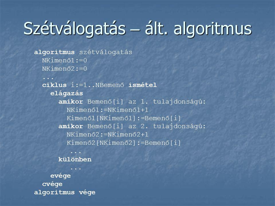 Szétválogatás – ált. algoritmus algoritmus szétválogatás NKimenő1:=0 NKimenő2:=0... ciklus i:=1..NBemenő ismétel elágazás amikor Bemenő[i] az 1. tulaj