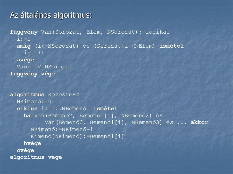 Az általános algoritmus: függvény Van(Sorozat, Elem, NSorozat): logikai i:=1 amíg (i Elem) ismétel i:=i+1 avége Van:=i<=NSorozat függvény vége algorit