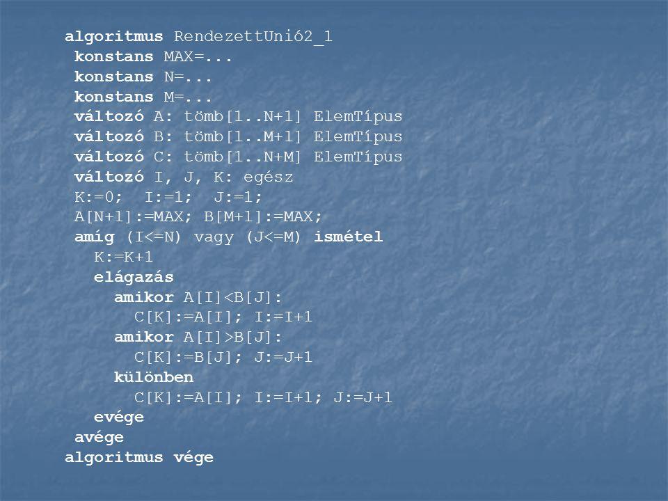 algoritmus RendezettUnió2_1 konstans MAX=... konstans N=...