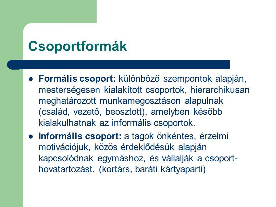Csoportformák Formális csoport: különböző szempontok alapján, mesterségesen kialakított csoportok, hierarchikusan meghatározott munkamegosztáson alapu