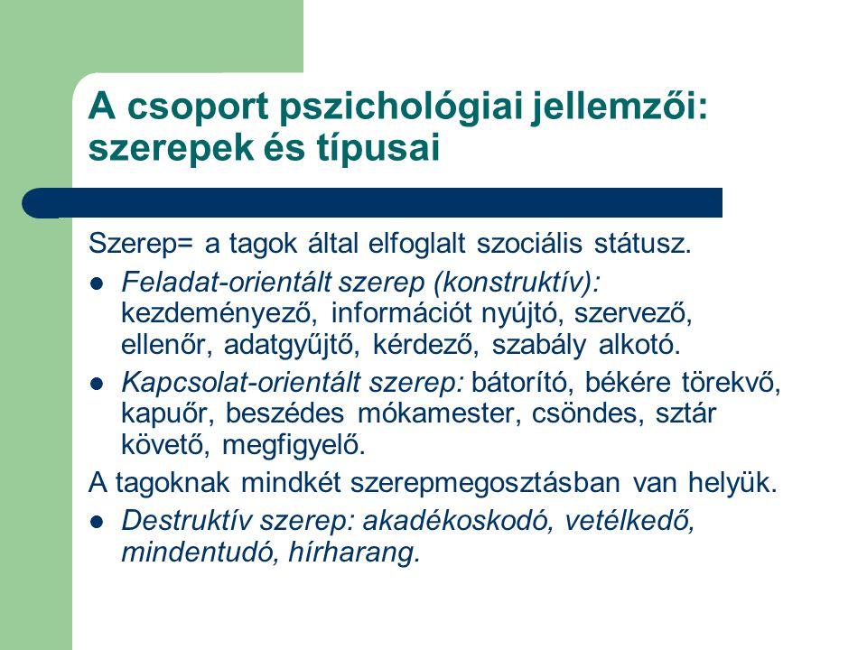 A csoport pszichológiai jellemzői: szerepek és típusai Szerep= a tagok által elfoglalt szociális státusz. Feladat-orientált szerep (konstruktív): kezd