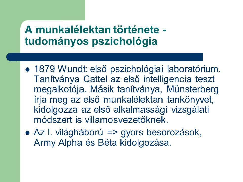 A munkalélektan története - tudományos pszichológia 1879 Wundt: első pszichológiai laboratórium. Tanítványa Cattel az első intelligencia teszt megalko