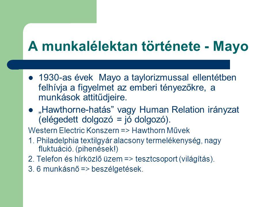 """A munkalélektan története - Mayo 1930-as évek Mayo a taylorizmussal ellentétben felhívja a figyelmet az emberi tényezőkre, a munkások attitűdjeire. """"H"""