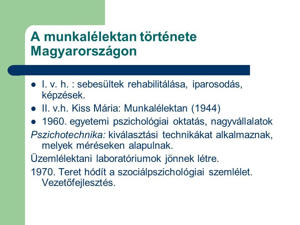 A munkalélektan története Magyarországon I. v. h. : sebesültek rehabilitálása, iparosodás, képzések. II. v.h. Kiss Mária: Munkalélektan (1944) 1960. e