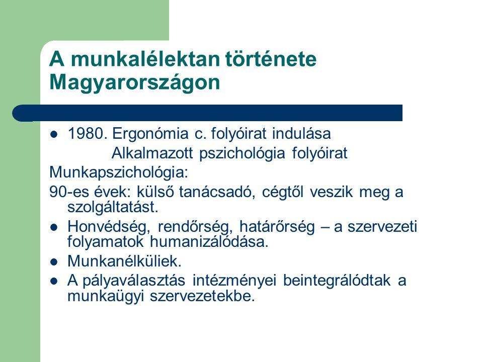 A munkalélektan története Magyarországon 1980. Ergonómia c. folyóirat indulása Alkalmazott pszichológia folyóirat Munkapszichológia: 90-es évek: külső