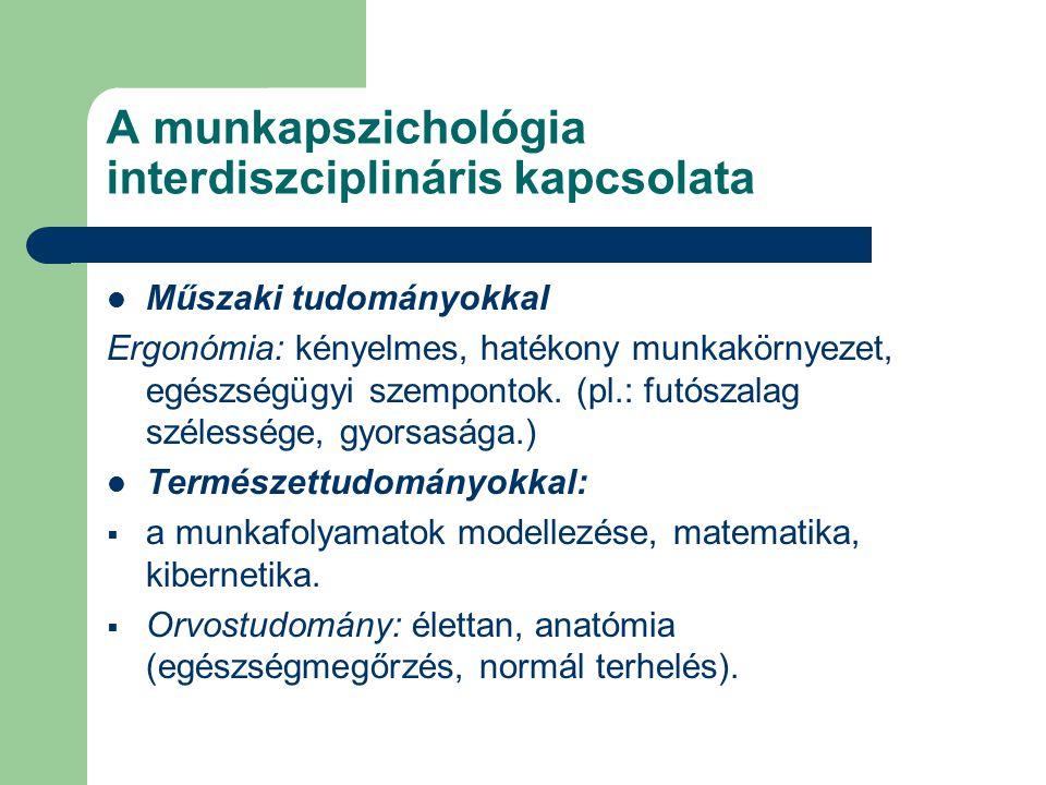 A munkapszichológia interdiszciplináris kapcsolata Műszaki tudományokkal Ergonómia: kényelmes, hatékony munkakörnyezet, egészségügyi szempontok. (pl.: