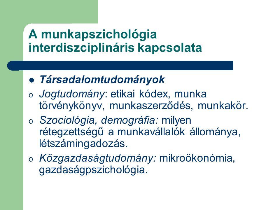A munkapszichológia interdiszciplináris kapcsolata Társadalomtudományok o Jogtudomány: etikai kódex, munka törvénykönyv, munkaszerződés, munkakör. o S