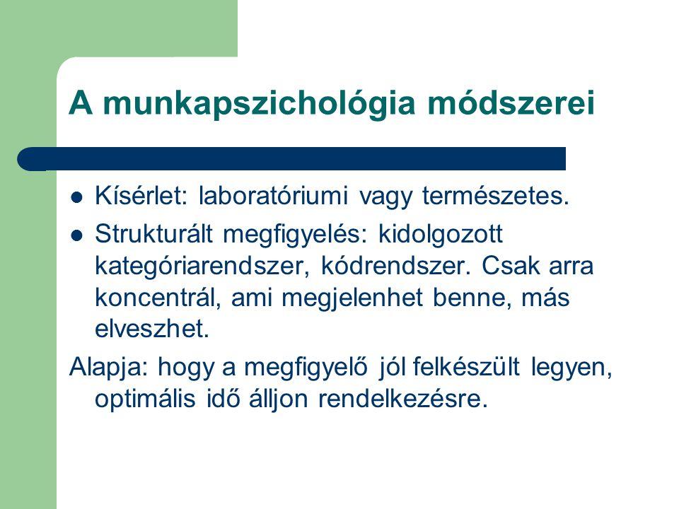 A munkapszichológia módszerei Kísérlet: laboratóriumi vagy természetes. Strukturált megfigyelés: kidolgozott kategóriarendszer, kódrendszer. Csak arra