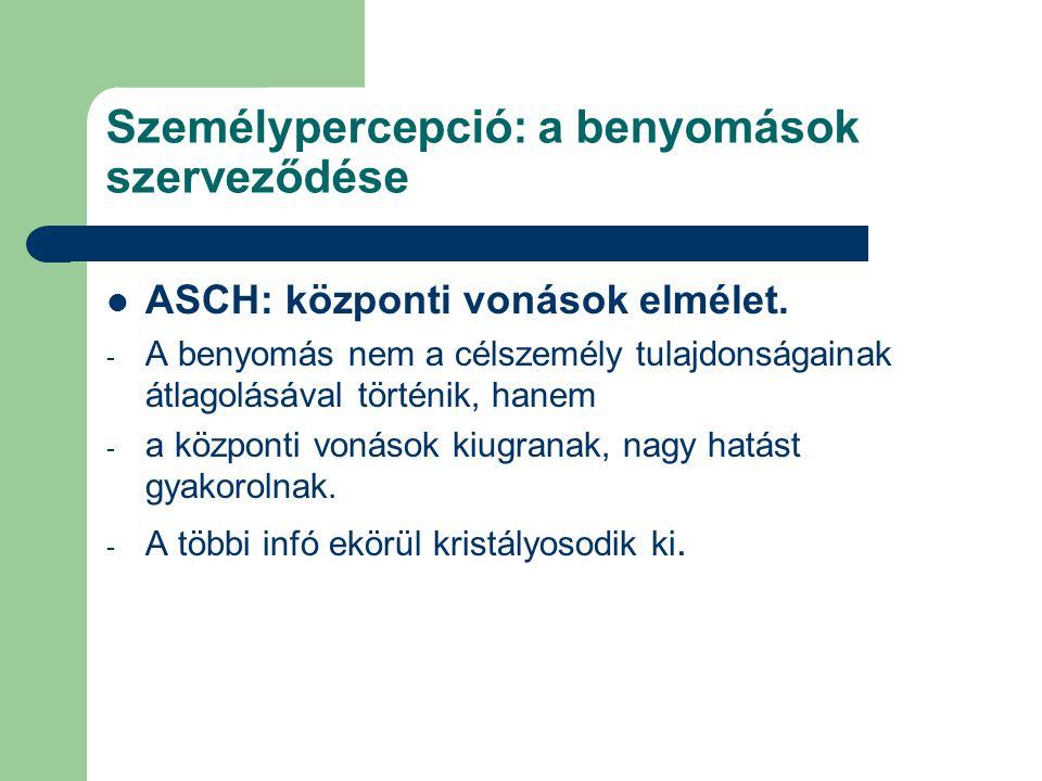 Személypercepció: a benyomások szerveződése ASCH: központi vonások elmélet. - A benyomás nem a célszemély tulajdonságainak átlagolásával történik, han