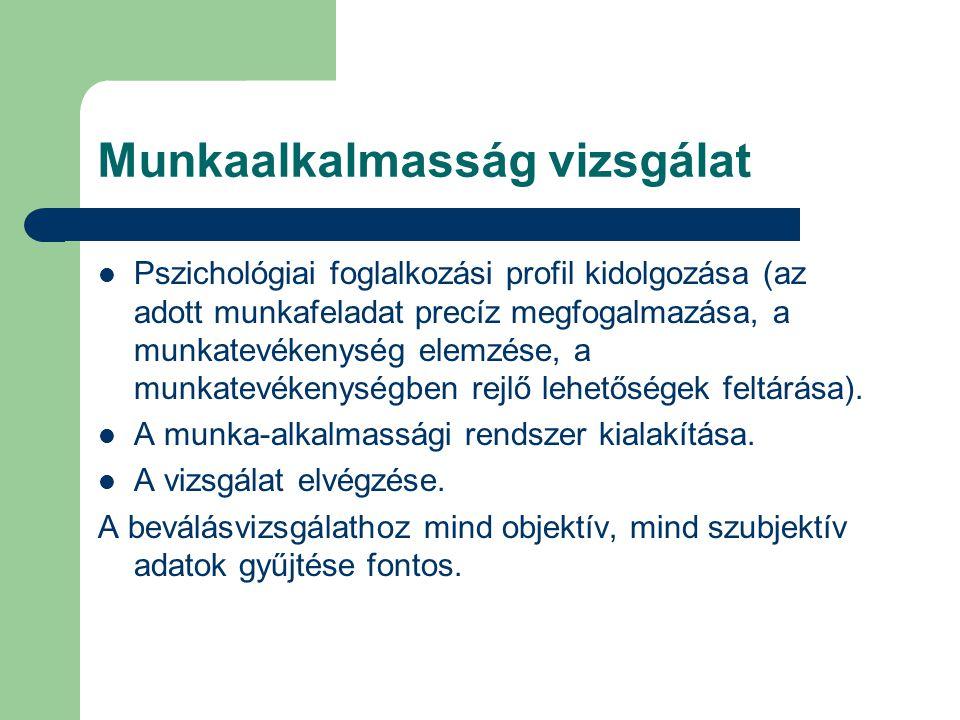 Munkaalkalmasság vizsgálat Pszichológiai foglalkozási profil kidolgozása (az adott munkafeladat precíz megfogalmazása, a munkatevékenység elemzése, a