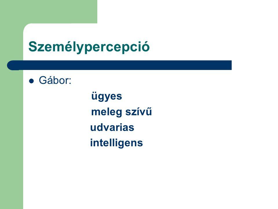 Személypercepció Gábor: ügyes meleg szívű udvarias intelligens