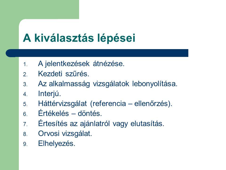 A kiválasztás lépései 1. A jelentkezések átnézése. 2. Kezdeti szűrés. 3. Az alkalmasság vizsgálatok lebonyolítása. 4. Interjú. 5. Háttérvizsgálat (ref