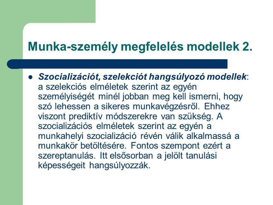 Munka-személy megfelelés modellek 2. Szocializációt, szelekciót hangsúlyozó modellek: a szelekciós elméletek szerint az egyén személyiségét minél jobb