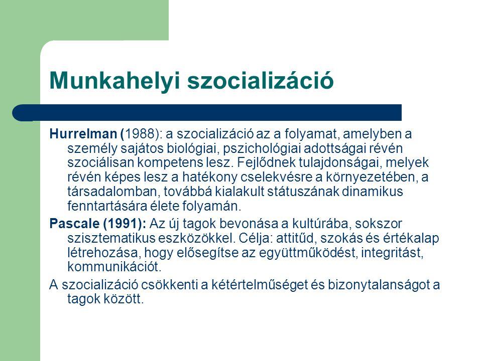 Munkahelyi szocializáció Hurrelman (1988): a szocializáció az a folyamat, amelyben a személy sajátos biológiai, pszichológiai adottságai révén szociál