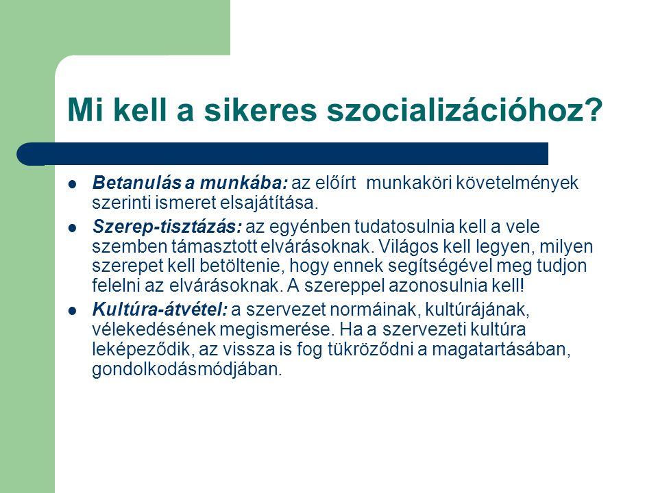 Mi kell a sikeres szocializációhoz? Betanulás a munkába: az előírt munkaköri követelmények szerinti ismeret elsajátítása. Szerep-tisztázás: az egyénbe