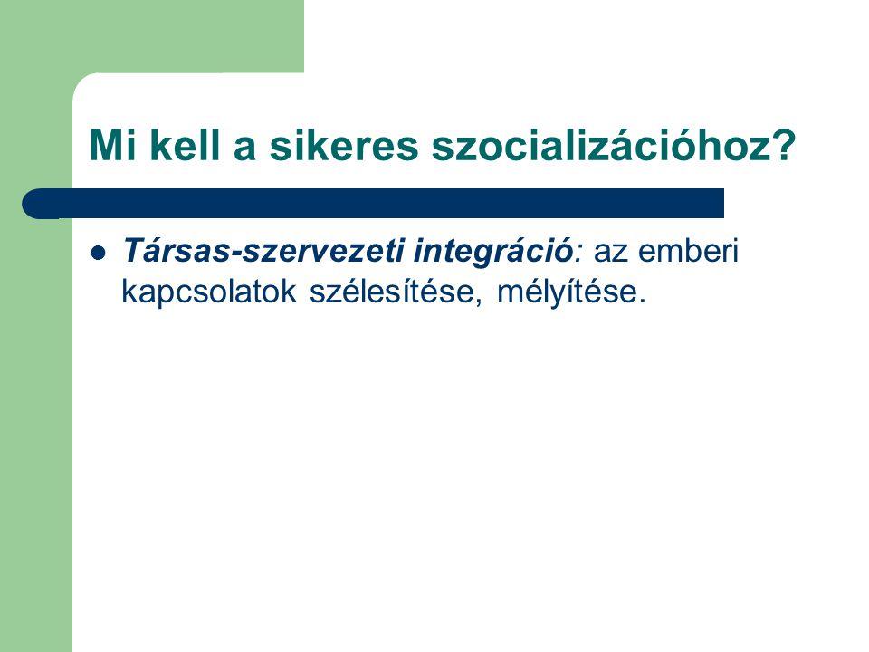 Mi kell a sikeres szocializációhoz? Társas-szervezeti integráció: az emberi kapcsolatok szélesítése, mélyítése.