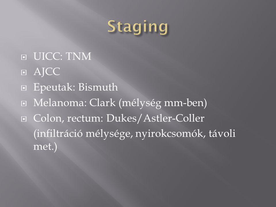  UICC: TNM  AJCC  Epeutak: Bismuth  Melanoma: Clark (mélység mm-ben)  Colon, rectum: Dukes/Astler-Coller (infiltráció mélysége, nyirokcsomók, távoli met.)