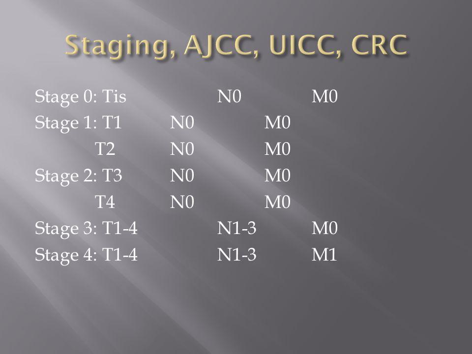 Stage 0: TisN0M0 Stage 1: T1N0M0 T2N0M0 Stage 2: T3N0M0 T4N0M0 Stage 3: T1-4N1-3M0 Stage 4: T1-4N1-3M1