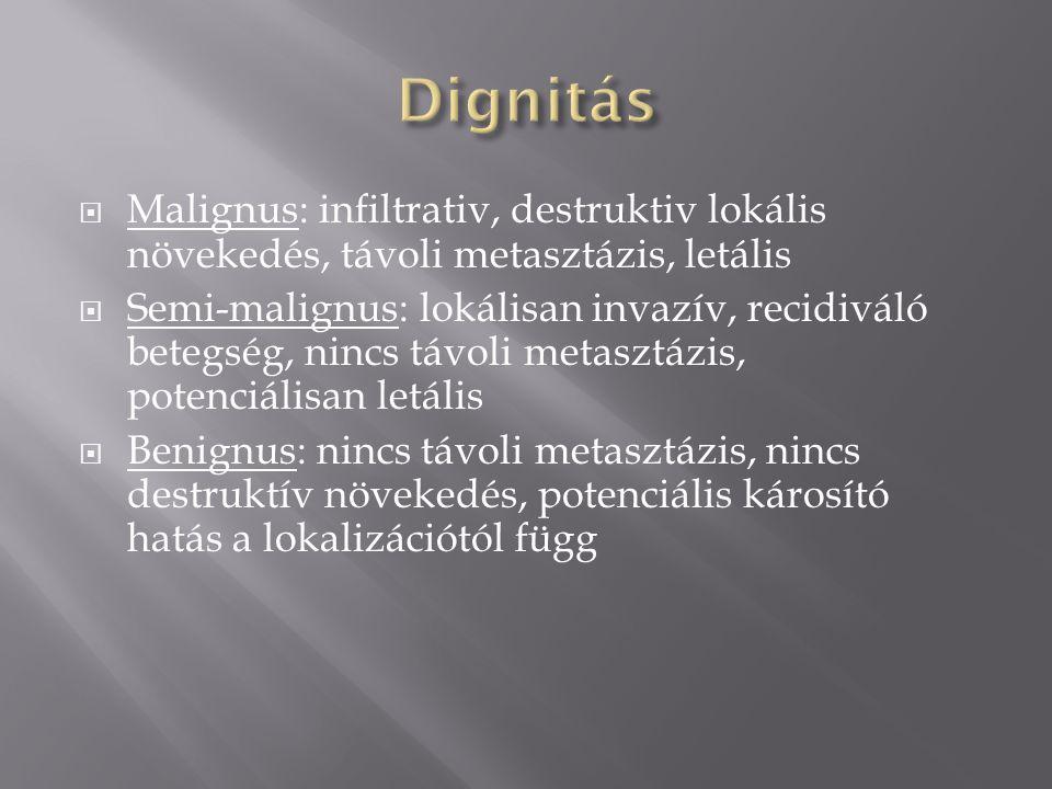  Malignus: infiltrativ, destruktiv lokális növekedés, távoli metasztázis, letális  Semi-malignus: lokálisan invazív, recidiváló betegség, nincs távoli metasztázis, potenciálisan letális  Benignus: nincs távoli metasztázis, nincs destruktív növekedés, potenciális károsító hatás a lokalizációtól függ