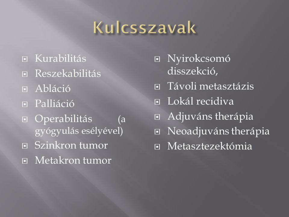  Szervi lokalizáció (pajzsmirigy, epehólyag)  Histologiai típus (papilláris, anaplasztikus pajzsmirigyrák)  Stage (TNM, AJCC, érinvázió, idegek!)  Grade (G1-3)