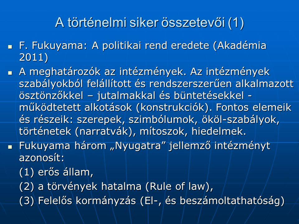 A történelmi siker összetevői (1) F. Fukuyama: A politikai rend eredete (Akadémia 2011) F.