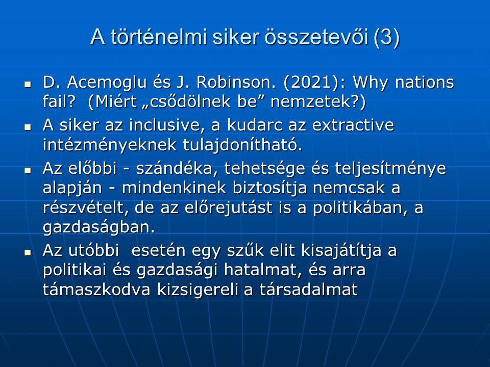 """A történelmi siker összetevői (3) D. Acemoglu és J. Robinson. (2021): Why nations fail? (Miért """"csődölnek be"""" nemzetek?) D. Acemoglu és J. Robinson. ("""