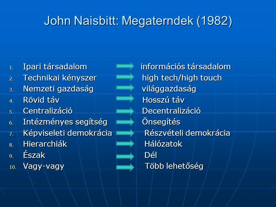 John Naisbitt: Megaterndek (1982) 1. Ipari társadalom információs társadalom 2. Technikai kényszer high tech/high touch 3. Nemzeti gazdaság világgazda