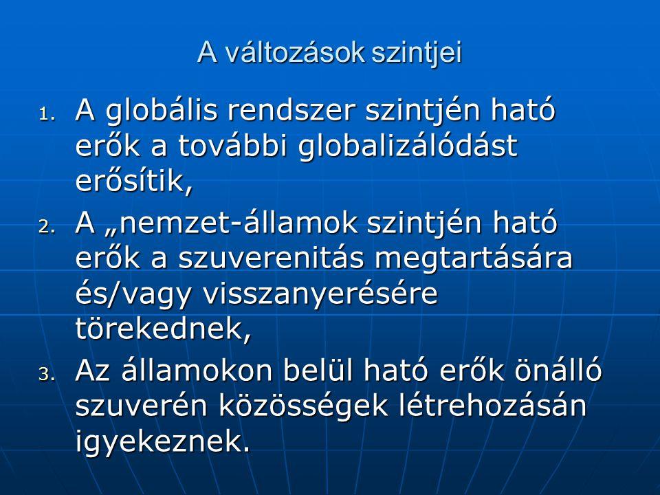 """A változások szintjei 1. A globális rendszer szintjén ható erők a további globalizálódást erősítik, 2. A """"nemzet-államok szintjén ható erők a szuveren"""