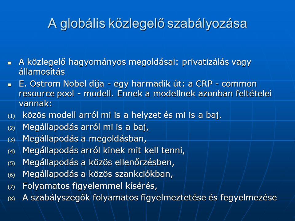 A globális közlegelő szabályozása A közlegelő hagyományos megoldásai: privatizálás vagy államosítás A közlegelő hagyományos megoldásai: privatizálás v