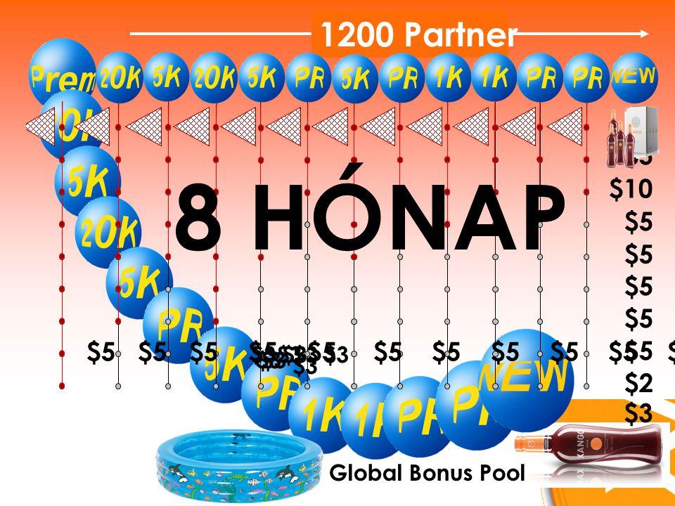 $5 $10 $5 $2 1200 Partner $5 $5 $5 $5 $5 $5 $5 $5 $5 $5 $5 $5 $5 $5 $3 Global Bonus Pool 8 HÓNAP