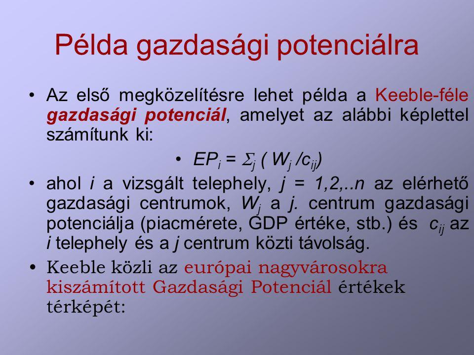Példa gazdasági potenciálra Az első megközelítésre lehet példa a Keeble-féle gazdasági potenciál, amelyet az alábbi képlettel számítunk ki: EP i =  j ( W j /c ij ) ahol i a vizsgált telephely, j = 1,2,..n az elérhető gazdasági centrumok, W j a j.