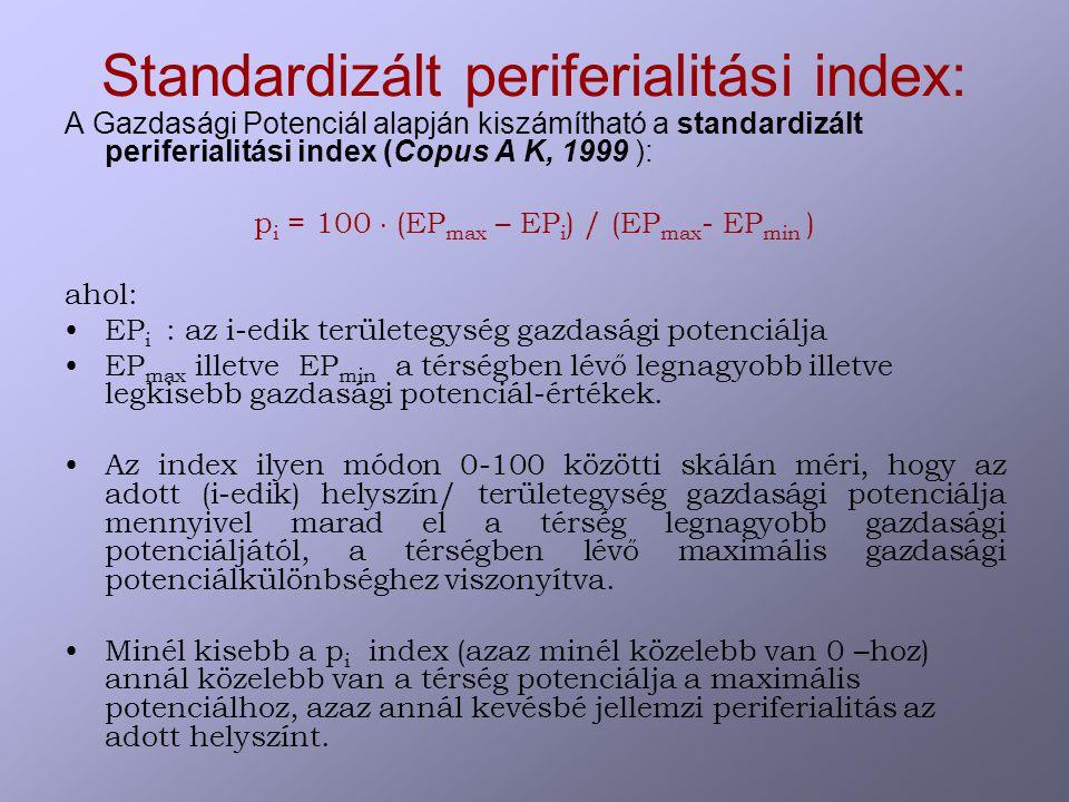 Standardizált periferialitási index: A Gazdasági Potenciál alapján kiszámítható a standardizált periferialitási index (Copus A K, 1999 ): p i = 100  (EP max – EP i ) / (EP max - EP min ) ahol: EP i : az i-edik területegység gazdasági potenciálja EP max illetve EP min a térségben lévő legnagyobb illetve legkisebb gazdasági potenciál-értékek.