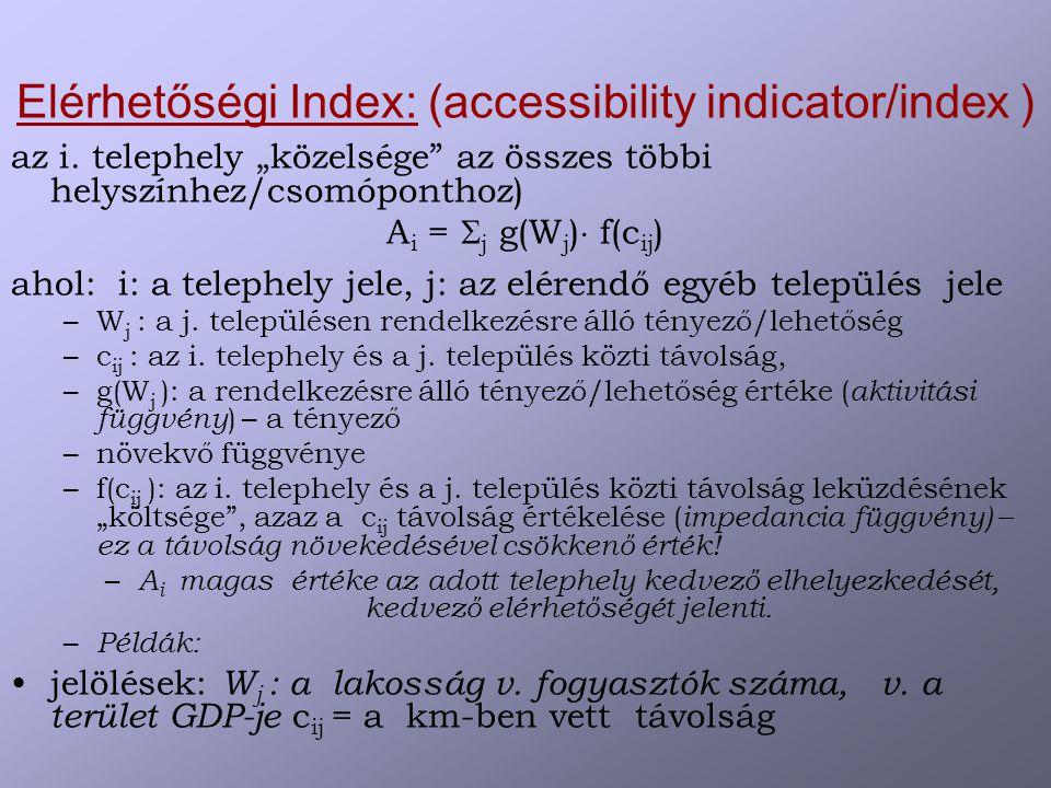 Elérhetőségi Index: (accessibility indicator/index ) az i.