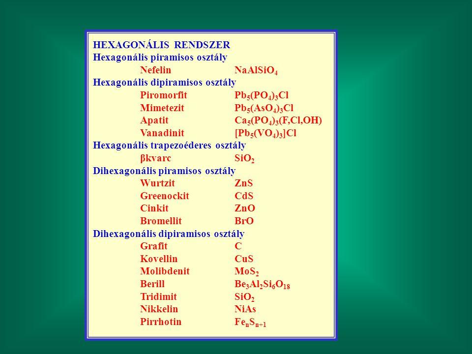 HEXAGONÁLIS RENDSZER Hexagonális piramisos osztály NefelinNaAlSiO 4 Hexagonális dipiramisos osztály PiromorfitPb 5 (PO 4 ) 3 Cl MimetezitPb 5 (AsO 4 )