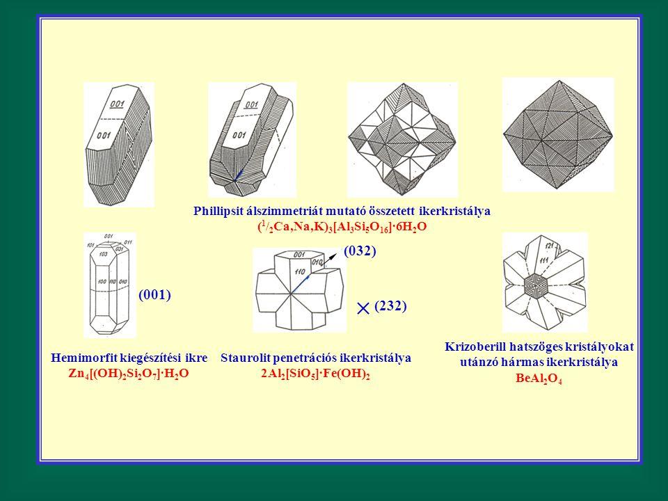 Phillipsit álszimmetriát mutató összetett ikerkristálya ( 1 / 2 Ca,Na,K) 3 [Al 3 Si 5 O 16 ]·6H 2 O (032) (232) Hemimorfit kiegészítési ikre Zn 4 [(OH