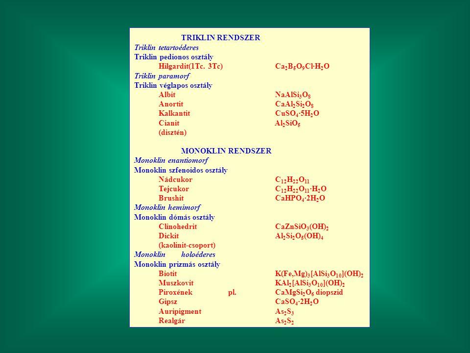 TRIKLIN RENDSZER Triklin tetartoéderes Triklin pedionos osztály Hilgardit(1Tc. 3Tc)Ca 2 B 5 O 9 Cl·H 2 O Triklin paramorf Triklin véglapos osztály Alb