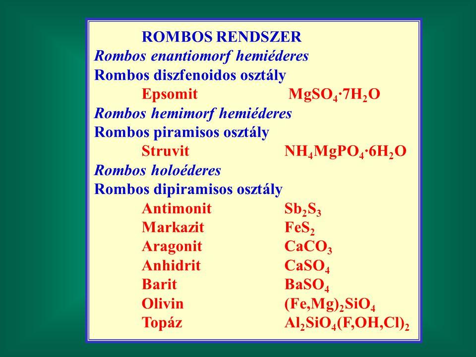 ROMBOS RENDSZER Rombos enantiomorf hemiéderes Rombos diszfenoidos osztály Epsomit MgSO 4 ·7H 2 O Rombos hemimorf hemiéderes Rombos piramisos osztály S